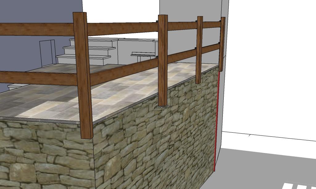 Ancoraggio chimico di montante in legno - Recinzione terrazzo ...
